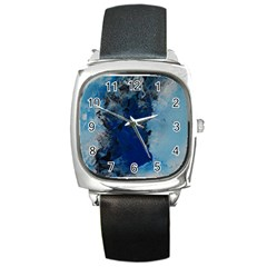 Blue Abstract No 2 Square Metal Watches