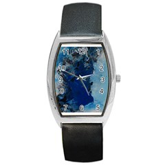Blue Abstract No 2 Barrel Metal Watches