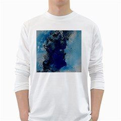 Blue Abstract No.2 White Long Sleeve T-Shirts