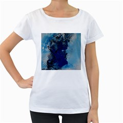 Blue Abstract No.2 Women s Loose-Fit T-Shirt (White)