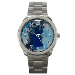 Blue Abstract No 2 Sport Metal Watches