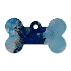 Blue Abstract No 2 Dog Tag Bone (one Side)