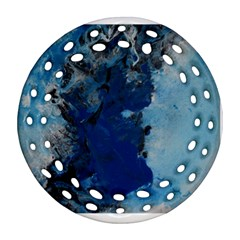 Blue Abstract No 2 Round Filigree Ornament (2side)