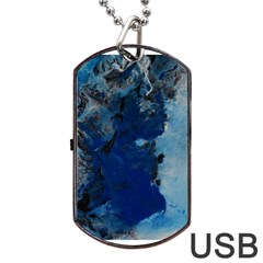 Blue Abstract No.2 Dog Tag USB Flash (Two Sides)