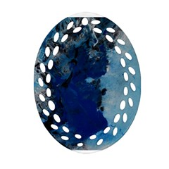 Blue Abstract No 2 Oval Filigree Ornament (2 Side)