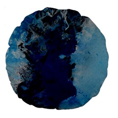 Blue Abstract No 2 Large 18  Premium Round Cushions
