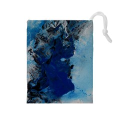 Blue Abstract No 2 Drawstring Pouches (large)