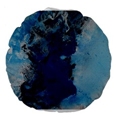 Blue Abstract No.2 Large 18  Premium Flano Round Cushions