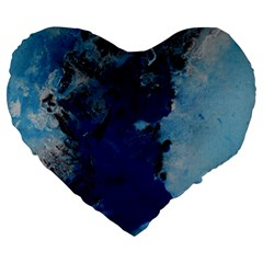 Blue Abstract No.2 Large 19  Premium Flano Heart Shape Cushions