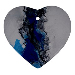 Blue Abstract No 3 Ornament (heart)