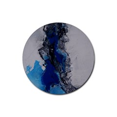 Blue Abstract No 3 Rubber Round Coaster (4 Pack)