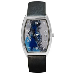 Blue Abstract No 3 Barrel Metal Watches