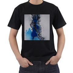Blue Abstract No.3 Men s T-Shirt (Black) (Two Sided)