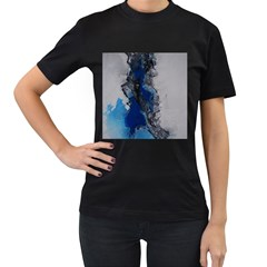 Blue Abstract No.3 Women s T-Shirt (Black) (Two Sided)
