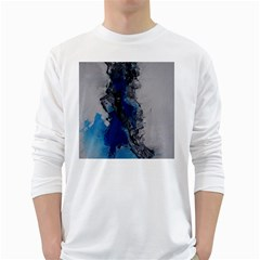 Blue Abstract No.3 White Long Sleeve T-Shirts