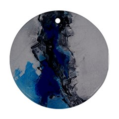 Blue Abstract No 3 Round Ornament (two Sides)