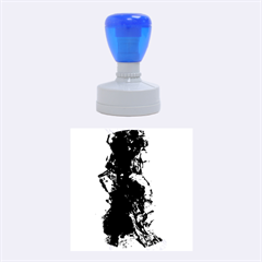 Blue Abstract No 3 Rubber Round Stamps (medium)