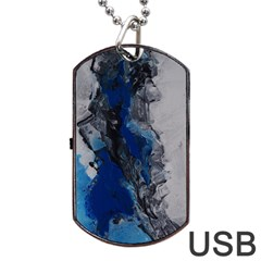 Blue Abstract No 3 Dog Tag Usb Flash (one Side)