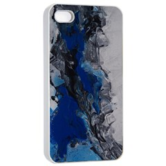 Blue Abstract No.3 Apple iPhone 4/4s Seamless Case (White)