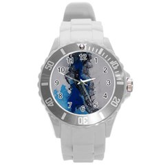 Blue Abstract No 3 Round Plastic Sport Watch (l)