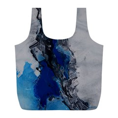 Blue Abstract No 3 Full Print Recycle Bags (l)