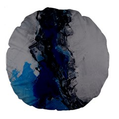 Blue Abstract No.3 Large 18  Premium Flano Round Cushions