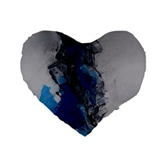 Blue Abstract No 3 Standard 16  Premium Flano Heart Shape Cushions