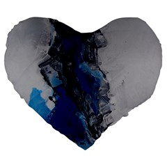 Blue Abstract No.3 Large 19  Premium Flano Heart Shape Cushions