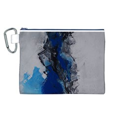 Blue Abstract No 3 Canvas Cosmetic Bag (l)