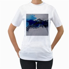 Blue Abstract No.4 Women s T-Shirt (White) (Two Sided)