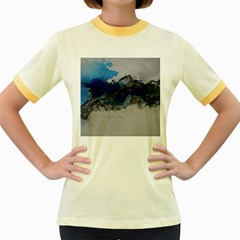 Blue Abstract No.4 Women s Fitted Ringer T-Shirts