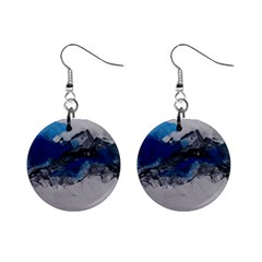 Blue Abstract No 4 Mini Button Earrings