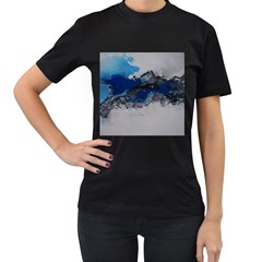 Blue Abstract No 4 Women s T Shirt (black) (two Sided)