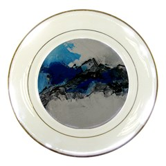 Blue Abstract No 4 Porcelain Plates