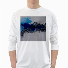 Blue Abstract No 4 White Long Sleeve T Shirts