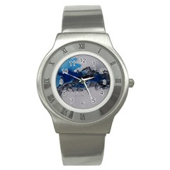 Blue Abstract No 4 Stainless Steel Watches