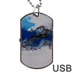 Blue Abstract No 4 Dog Tag Usb Flash (one Side)