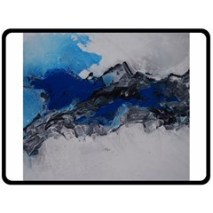 Blue Abstract No 4 Double Sided Fleece Blanket (large)