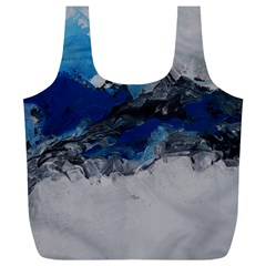 Blue Abstract No 4 Full Print Recycle Bags (l)