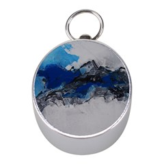 Blue Abstract No.4 Mini Silver Compasses