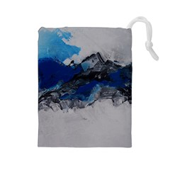 Blue Abstract No 4 Drawstring Pouches (large)