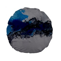 Blue Abstract No 4 Standard 15  Premium Flano Round Cushions
