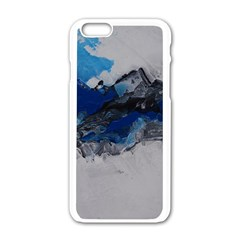 Blue Abstract No.4 Apple iPhone 6 White Enamel Case