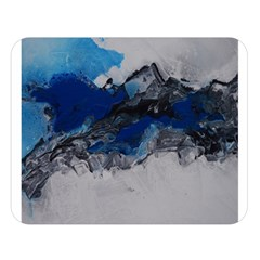 Blue Abstract No 4 Double Sided Flano Blanket (large)