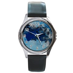 Blue Abstract No 5 Round Metal Watches