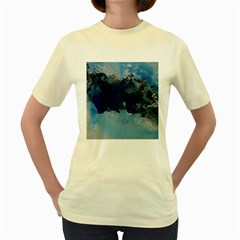Blue Abstract No.5 Women s Yellow T-Shirt
