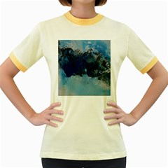 Blue Abstract No.5 Women s Fitted Ringer T-Shirts