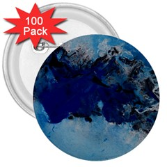 Blue Abstract No 5 3  Buttons (100 Pack)