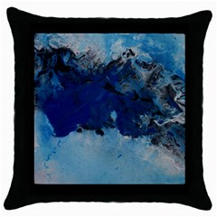 Blue Abstract No 5 Throw Pillow Cases (black)