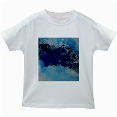 Blue Abstract No.5 Kids White T-Shirts